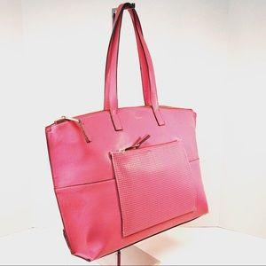 T Tahari Leather Pink Tote